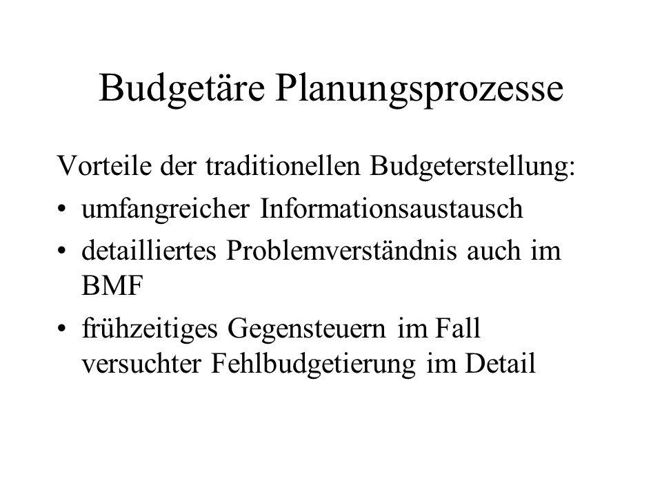 Budgetäre Planungsprozesse Vorteile der traditionellen Budgeterstellung: umfangreicher Informationsaustausch detailliertes Problemverständnis auch im
