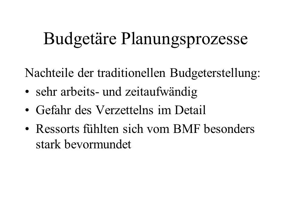 Budgetäre Planungsprozesse Nachteile der traditionellen Budgeterstellung: sehr arbeits- und zeitaufwändig Gefahr des Verzettelns im Detail Ressorts fü