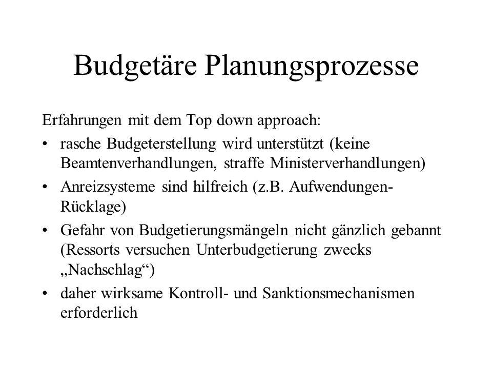 Budgetäre Planungsprozesse Erfahrungen mit dem Top down approach: rasche Budgeterstellung wird unterstützt (keine Beamtenverhandlungen, straffe Minist
