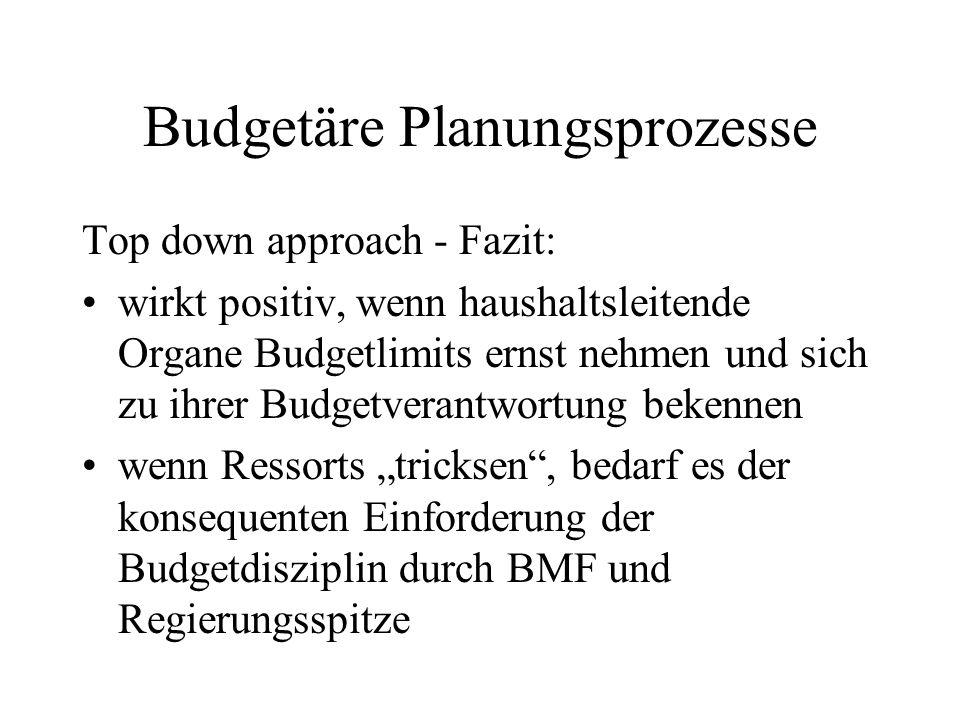 Budgetäre Planungsprozesse Top down approach - Fazit: wirkt positiv, wenn haushaltsleitende Organe Budgetlimits ernst nehmen und sich zu ihrer Budgetv