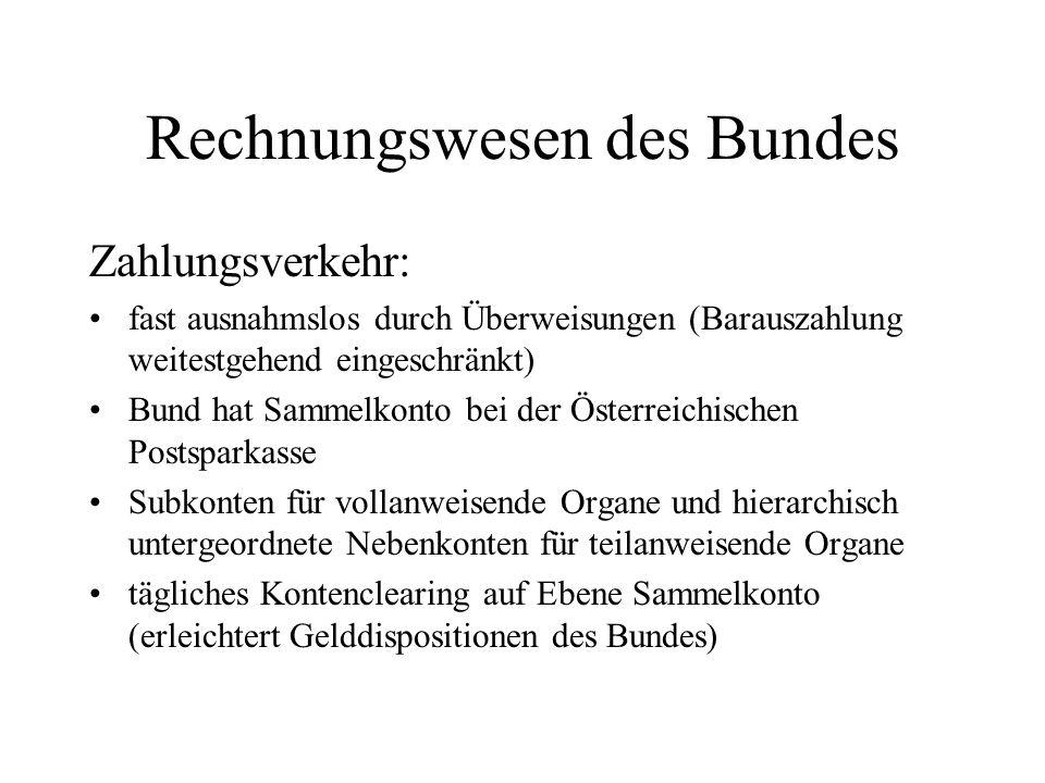Rechnungswesen des Bundes Zahlungsverkehr: fast ausnahmslos durch Überweisungen (Barauszahlung weitestgehend eingeschränkt) Bund hat Sammelkonto bei d