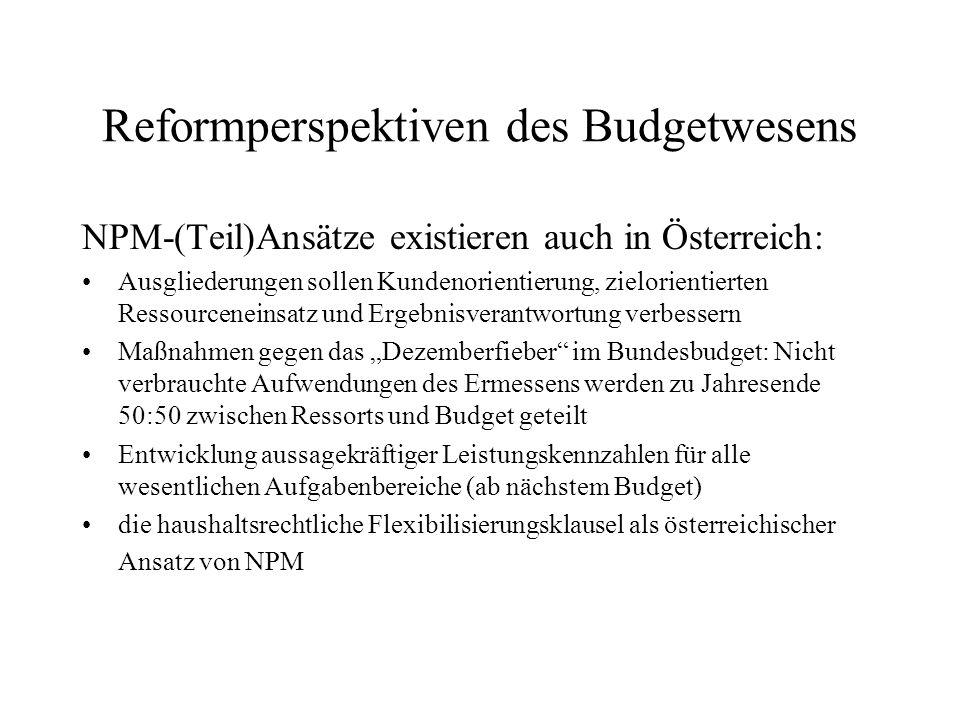 Reformperspektiven des Budgetwesens NPM-(Teil)Ansätze existieren auch in Österreich: Ausgliederungen sollen Kundenorientierung, zielorientierten Resso