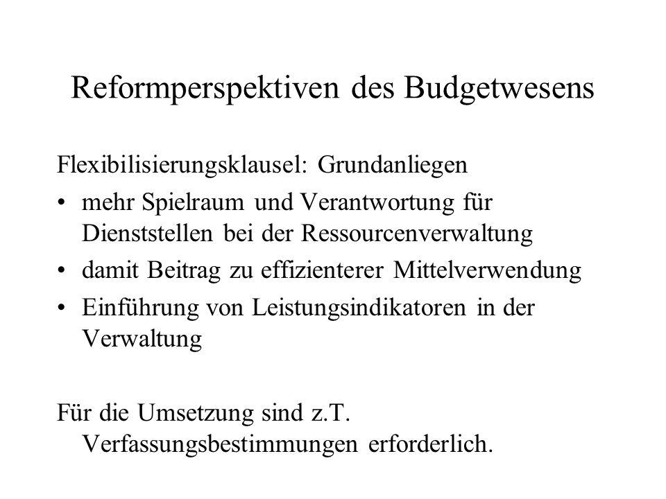 Reformperspektiven des Budgetwesens Flexibilisierungsklausel: Grundanliegen mehr Spielraum und Verantwortung für Dienststellen bei der Ressourcenverwa