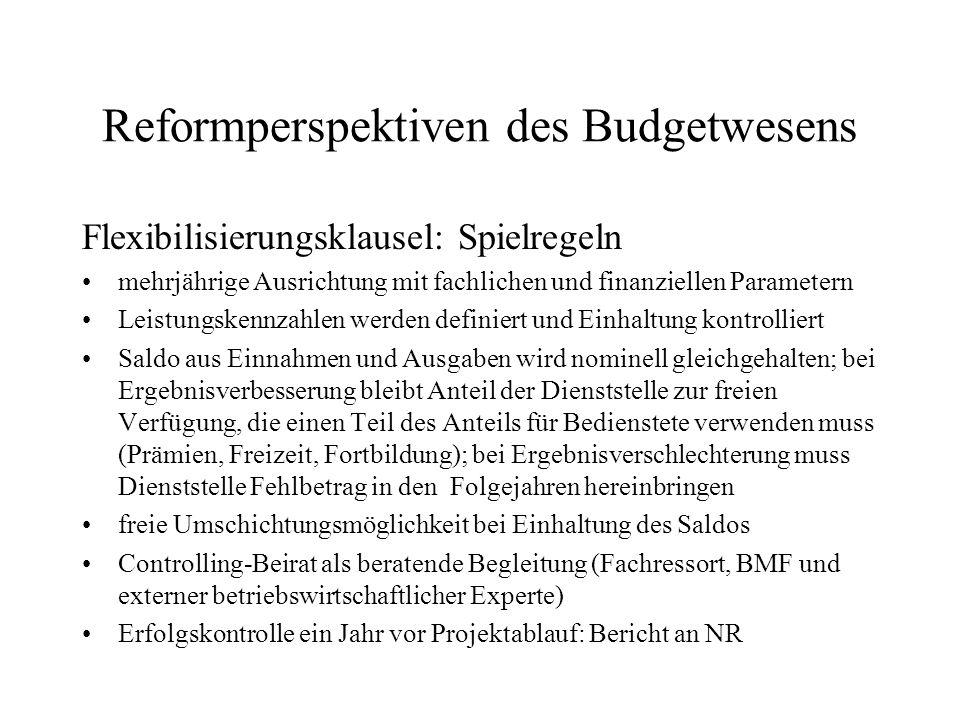 Reformperspektiven des Budgetwesens Flexibilisierungsklausel: Spielregeln mehrjährige Ausrichtung mit fachlichen und finanziellen Parametern Leistungs