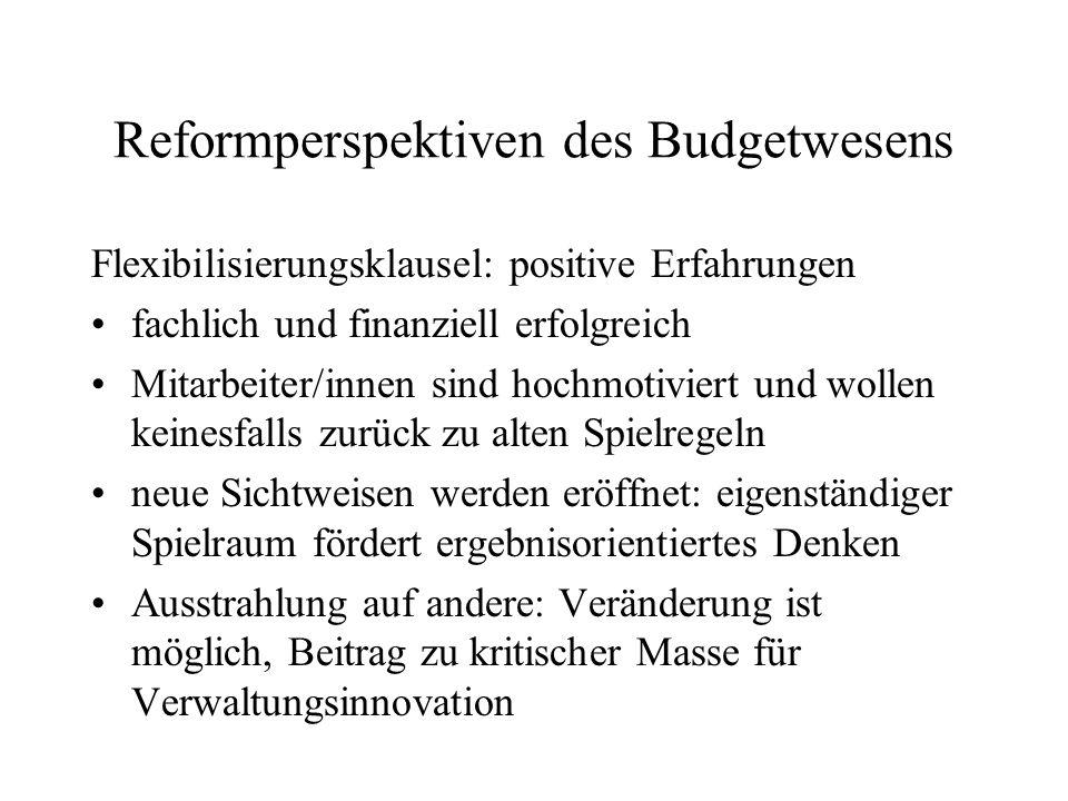 Reformperspektiven des Budgetwesens Flexibilisierungsklausel: positive Erfahrungen fachlich und finanziell erfolgreich Mitarbeiter/innen sind hochmoti