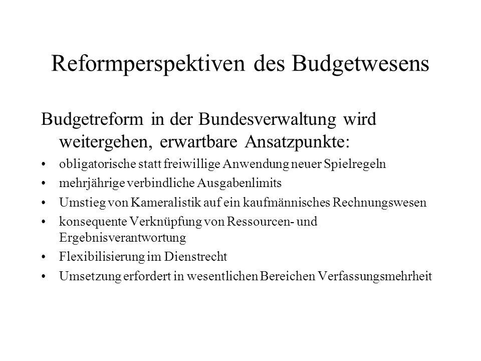 Reformperspektiven des Budgetwesens Budgetreform in der Bundesverwaltung wird weitergehen, erwartbare Ansatzpunkte: obligatorische statt freiwillige A