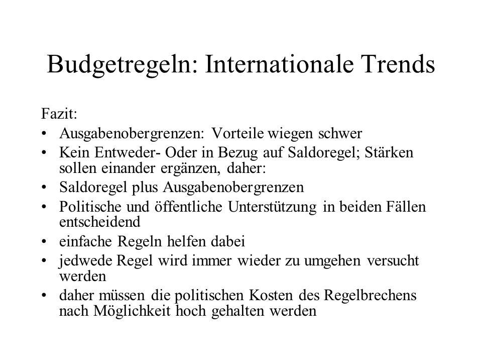 Budgetregeln: Internationale Trends Fazit: Ausgabenobergrenzen: Vorteile wiegen schwer Kein Entweder- Oder in Bezug auf Saldoregel; Stärken sollen ein