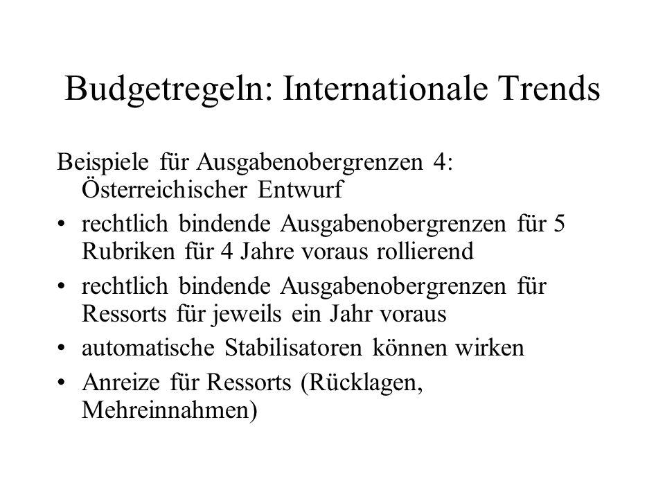 Budgetregeln: Internationale Trends Beispiele für Ausgabenobergrenzen 4: Österreichischer Entwurf rechtlich bindende Ausgabenobergrenzen für 5 Rubrike