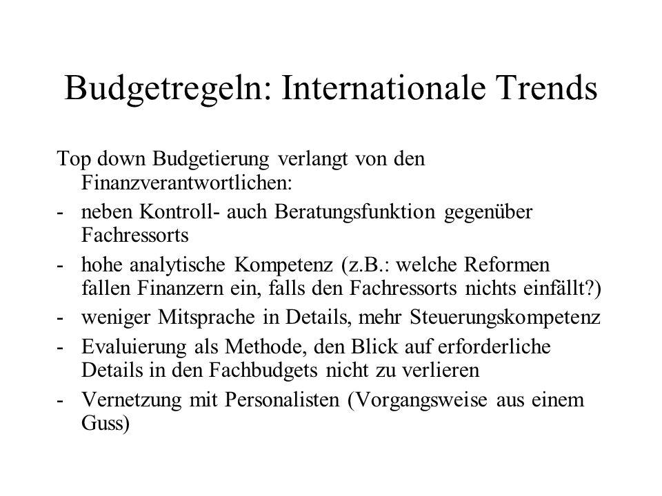 Budgetregeln: Internationale Trends Top down Budgetierung verlangt von den Finanzverantwortlichen: -neben Kontroll- auch Beratungsfunktion gegenüber F