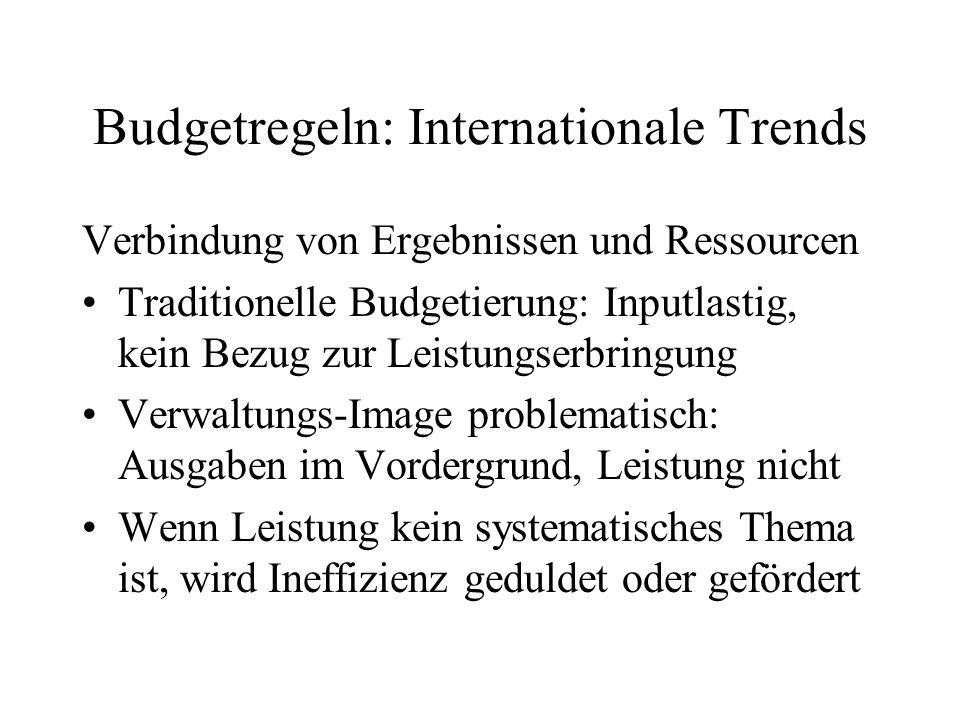Budgetregeln: Internationale Trends Verbindung von Ergebnissen und Ressourcen Traditionelle Budgetierung: Inputlastig, kein Bezug zur Leistungserbring