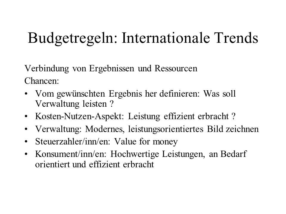 Budgetregeln: Internationale Trends Verbindung von Ergebnissen und Ressourcen Chancen: Vom gewünschten Ergebnis her definieren: Was soll Verwaltung le