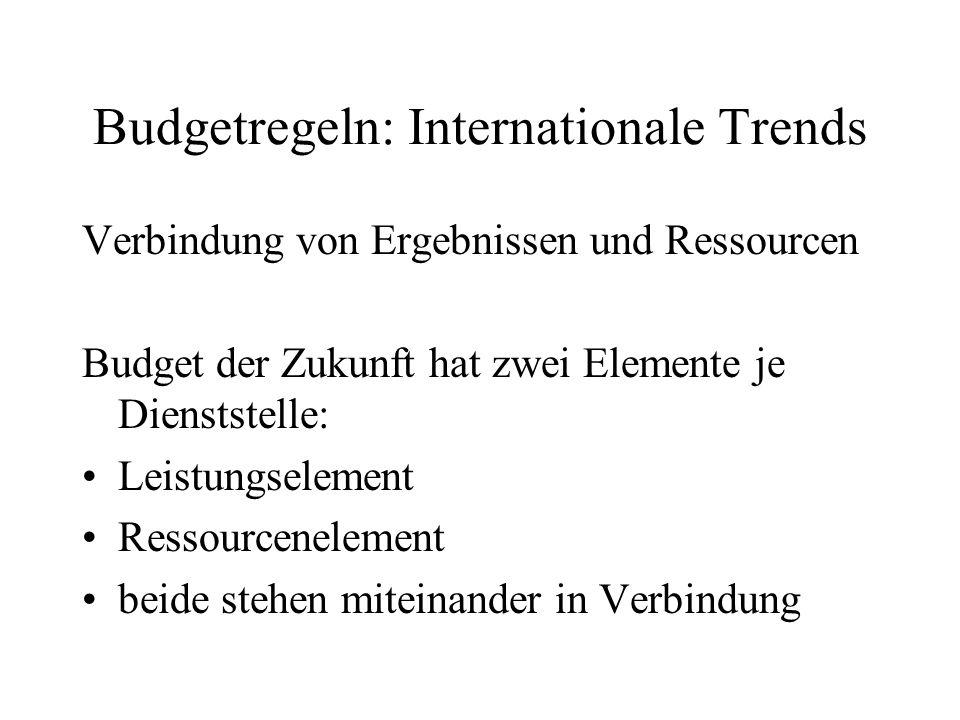 Budgetregeln: Internationale Trends Verbindung von Ergebnissen und Ressourcen Budget der Zukunft hat zwei Elemente je Dienststelle: Leistungselement R