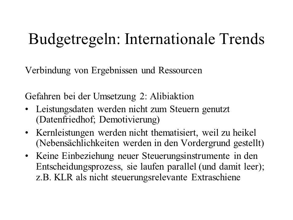 Budgetregeln: Internationale Trends Verbindung von Ergebnissen und Ressourcen Gefahren bei der Umsetzung 2: Alibiaktion Leistungsdaten werden nicht zu