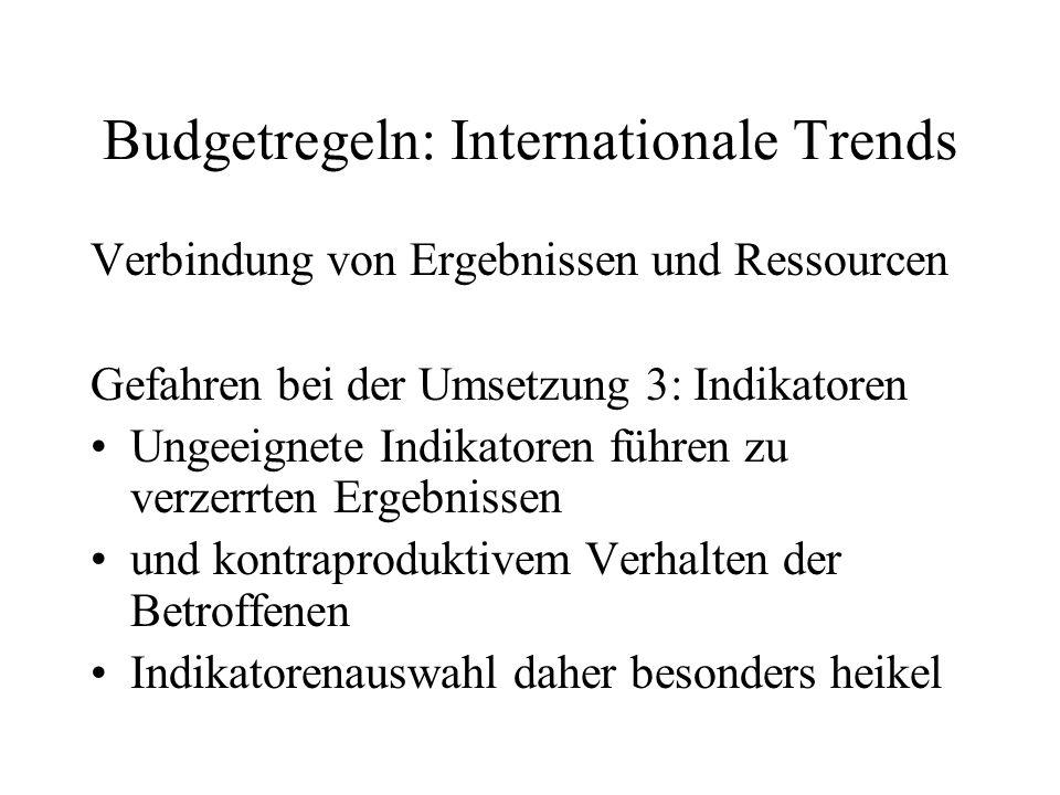 Budgetregeln: Internationale Trends Verbindung von Ergebnissen und Ressourcen Gefahren bei der Umsetzung 3: Indikatoren Ungeeignete Indikatoren führen