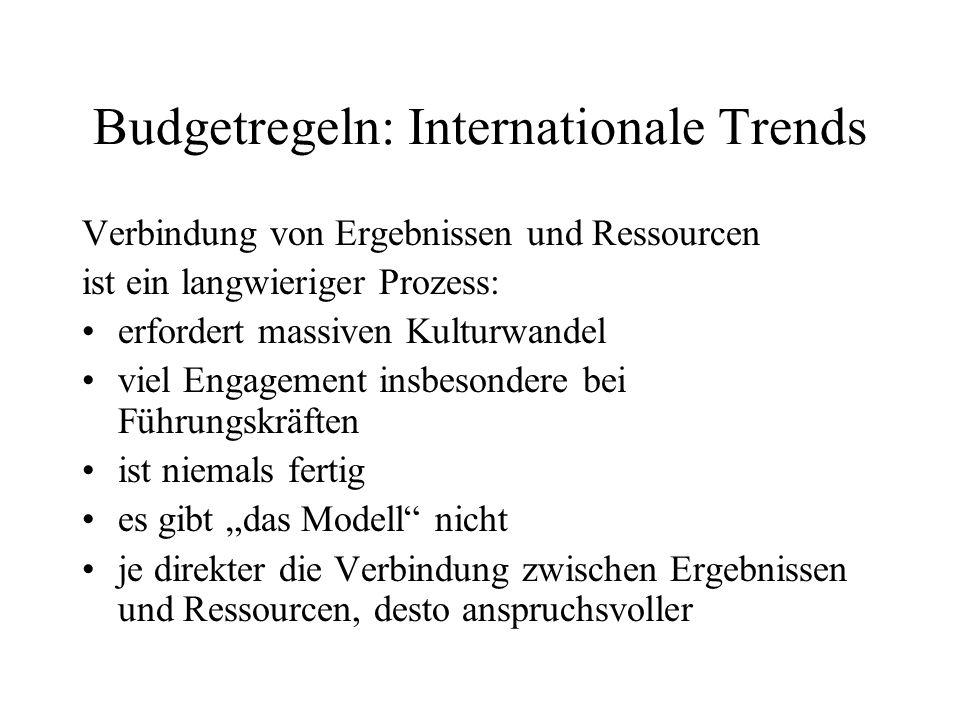 Budgetregeln: Internationale Trends Verbindung von Ergebnissen und Ressourcen ist ein langwieriger Prozess: erfordert massiven Kulturwandel viel Engag