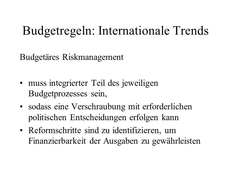 Budgetregeln: Internationale Trends Budgetäres Riskmanagement muss integrierter Teil des jeweiligen Budgetprozesses sein, sodass eine Verschraubung mi