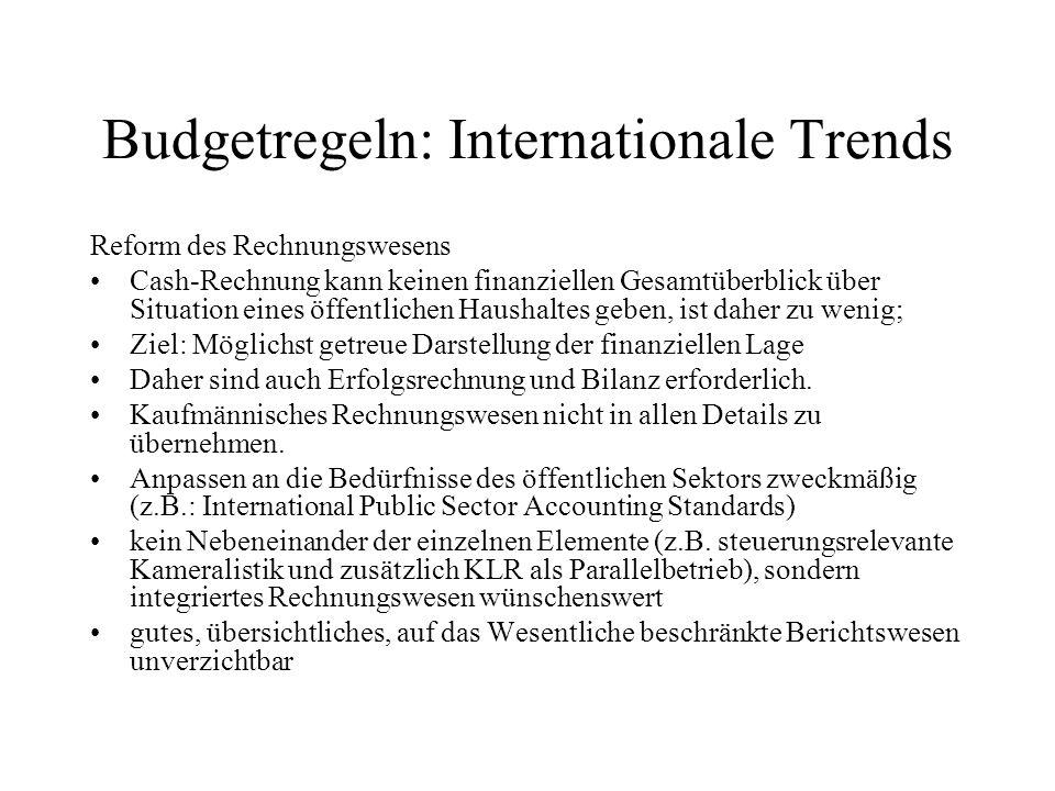 Budgetregeln: Internationale Trends Reform des Rechnungswesens Cash-Rechnung kann keinen finanziellen Gesamtüberblick über Situation eines öffentliche