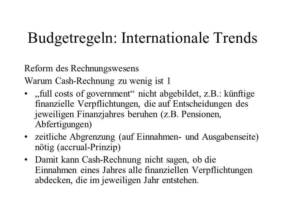 Budgetregeln: Internationale Trends Reform des Rechnungswesens Warum Cash-Rechnung zu wenig ist 1 full costs of government nicht abgebildet, z.B.: kün
