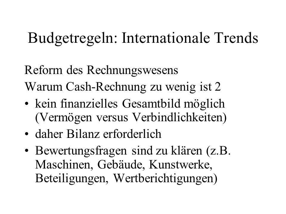 Budgetregeln: Internationale Trends Reform des Rechnungswesens Warum Cash-Rechnung zu wenig ist 2 kein finanzielles Gesamtbild möglich (Vermögen versu