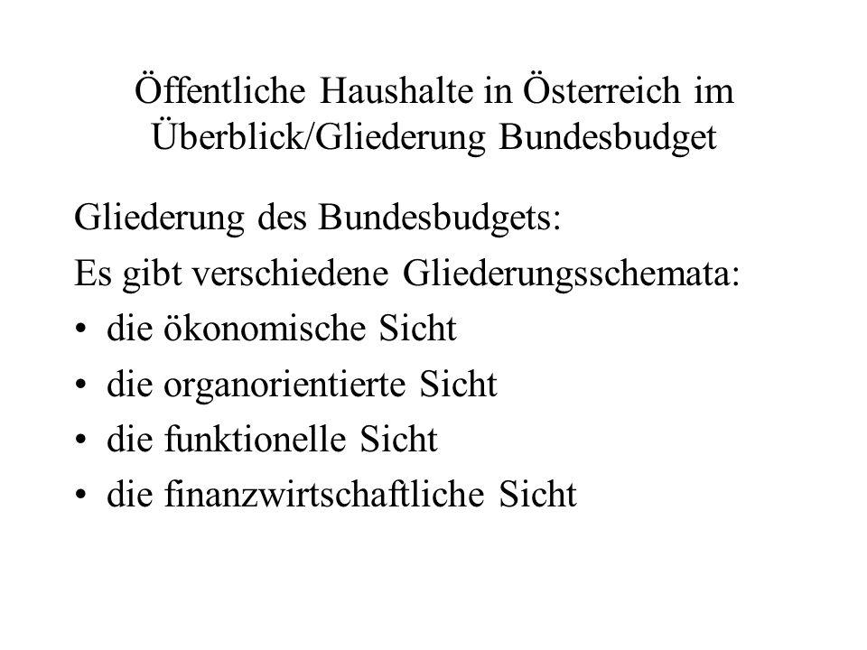 Öffentliche Haushalte in Österreich im Überblick/Gliederung Bundesbudget Gliederung des Bundesbudgets: Es gibt verschiedene Gliederungsschemata: die ö