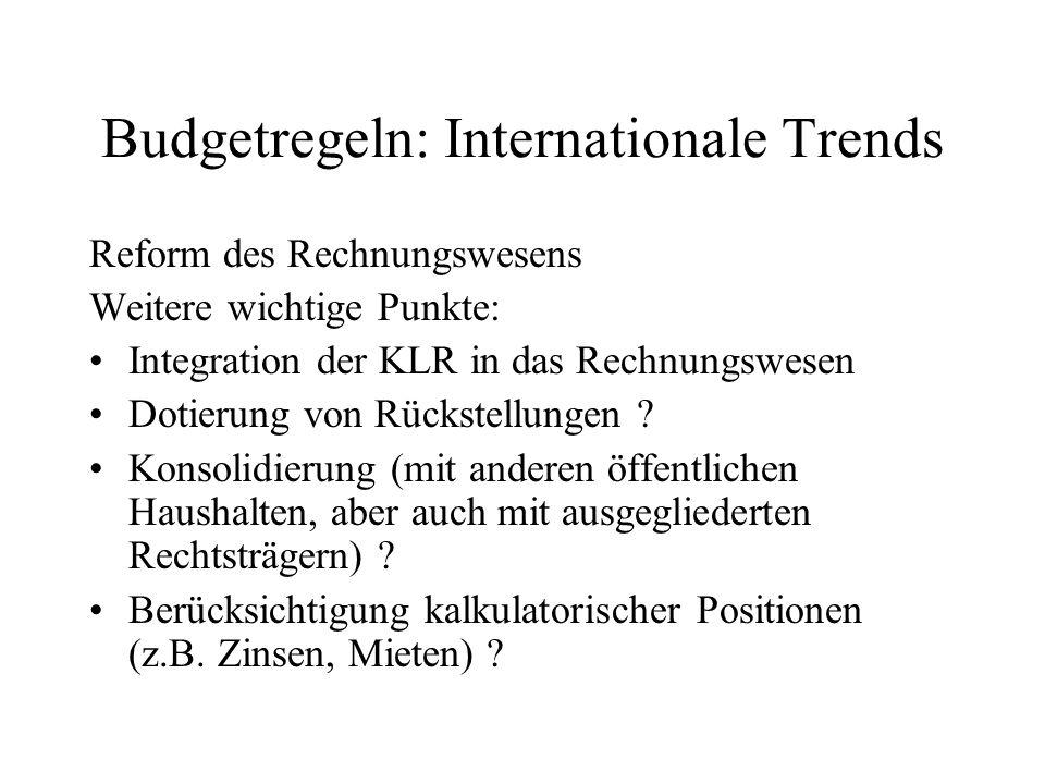 Budgetregeln: Internationale Trends Reform des Rechnungswesens Weitere wichtige Punkte: Integration der KLR in das Rechnungswesen Dotierung von Rückst