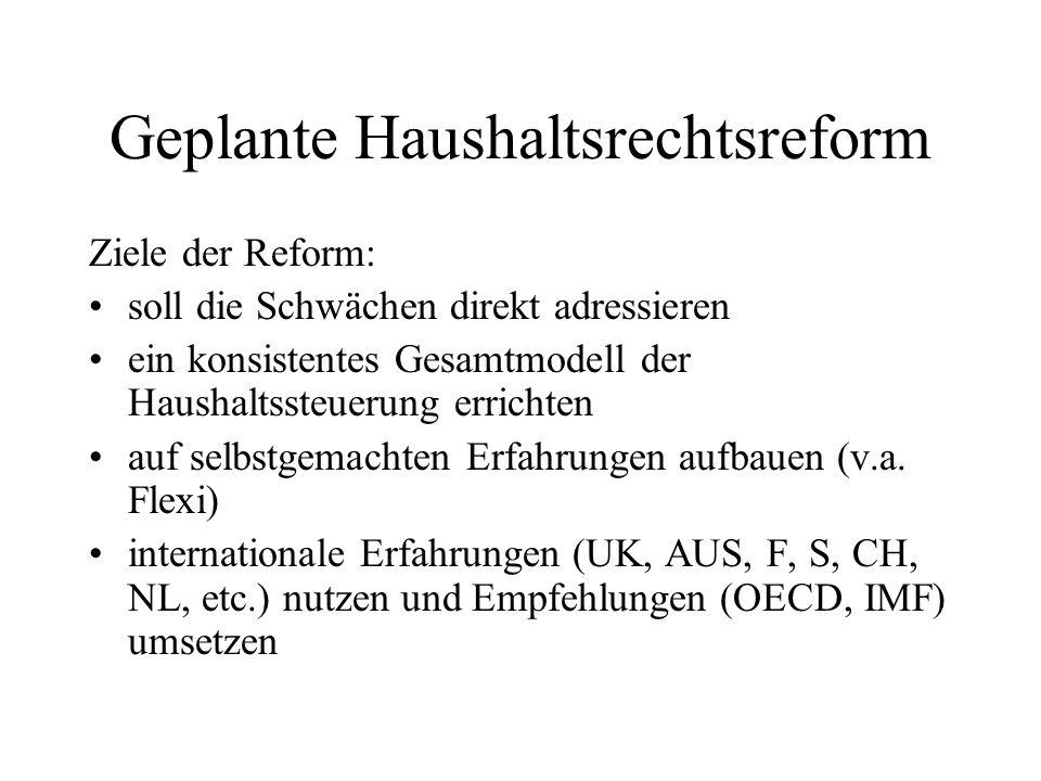 Geplante Haushaltsrechtsreform Ziele der Reform: soll die Schwächen direkt adressieren ein konsistentes Gesamtmodell der Haushaltssteuerung errichten