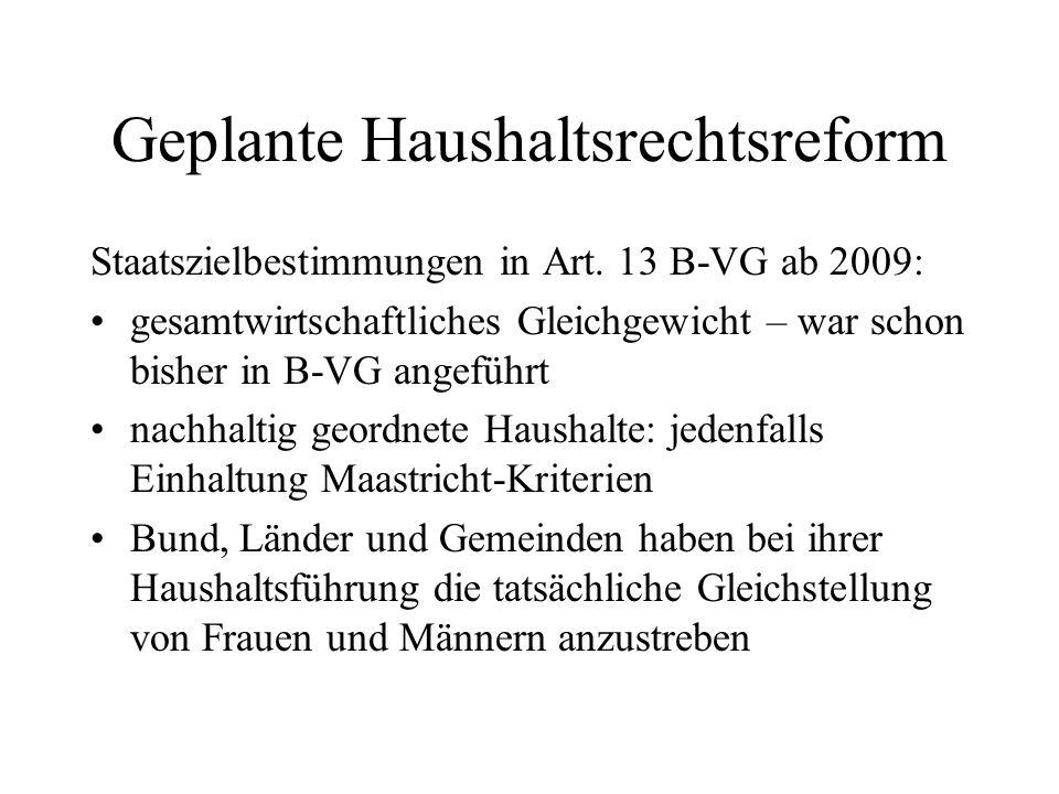 Geplante Haushaltsrechtsreform Staatszielbestimmungen in Art. 13 B-VG ab 2009: gesamtwirtschaftliches Gleichgewicht – war schon bisher in B-VG angefüh
