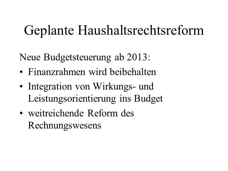 Geplante Haushaltsrechtsreform Neue Budgetsteuerung ab 2013: Finanzrahmen wird beibehalten Integration von Wirkungs- und Leistungsorientierung ins Bud