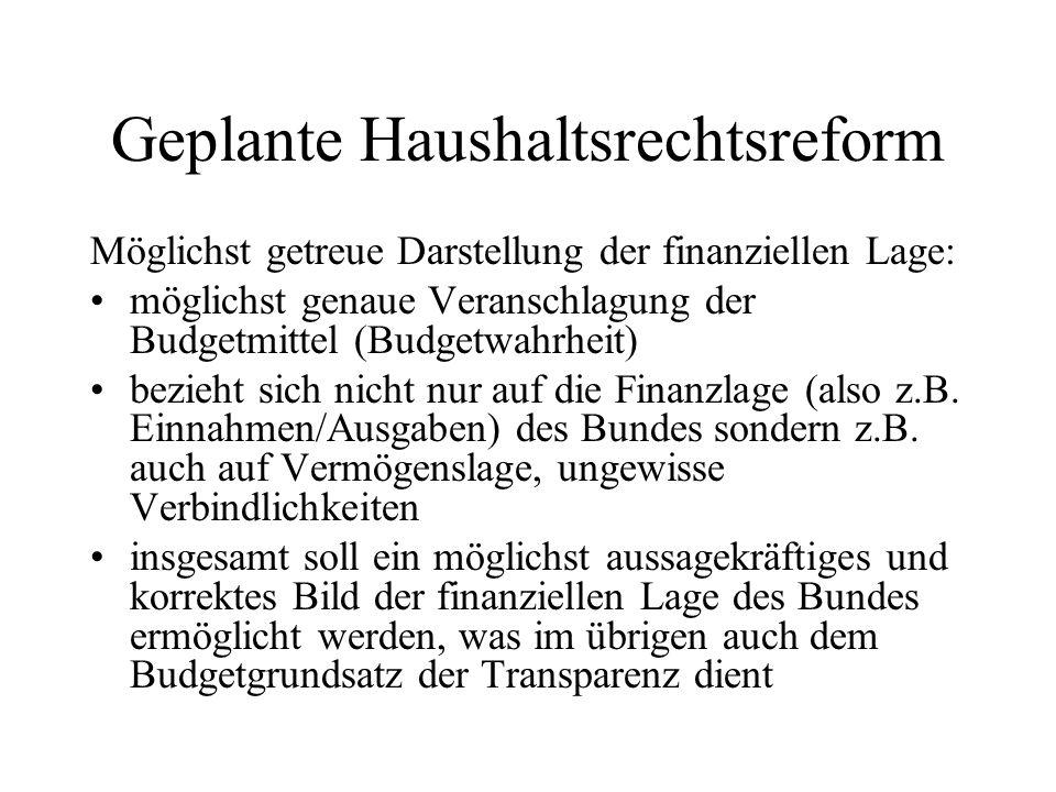 Geplante Haushaltsrechtsreform Möglichst getreue Darstellung der finanziellen Lage: möglichst genaue Veranschlagung der Budgetmittel (Budgetwahrheit)