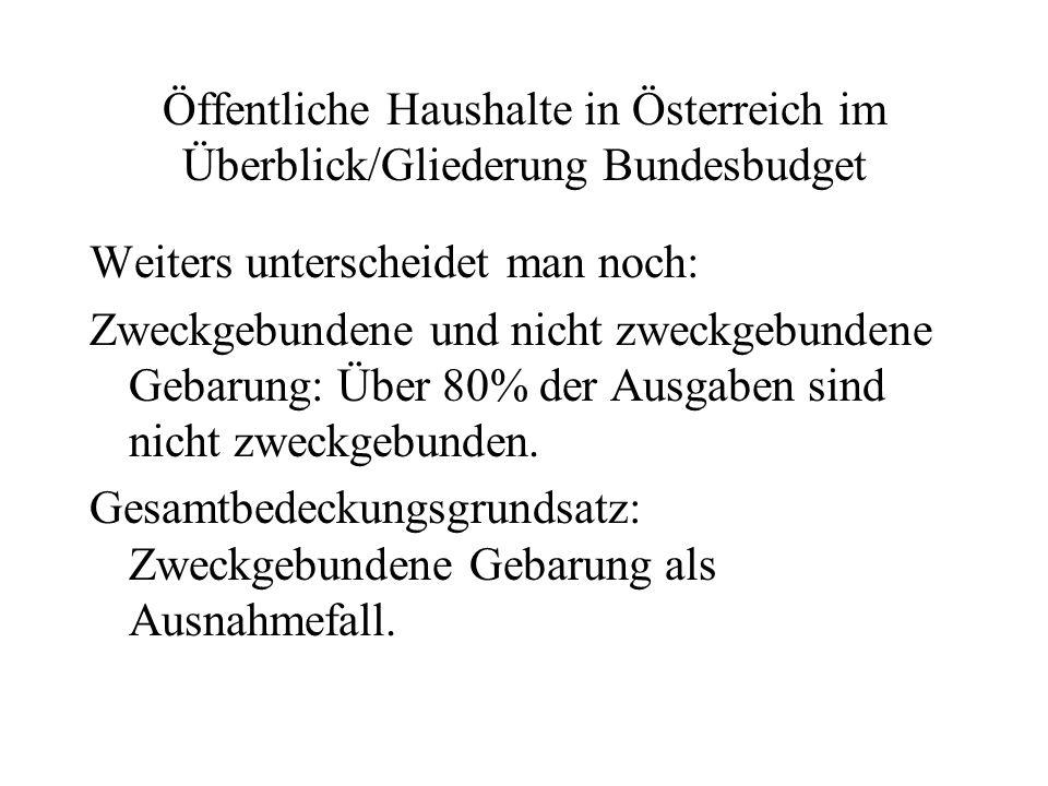 Öffentliche Haushalte in Österreich im Überblick/Gliederung Bundesbudget Weiters unterscheidet man noch: Zweckgebundene und nicht zweckgebundene Gebar