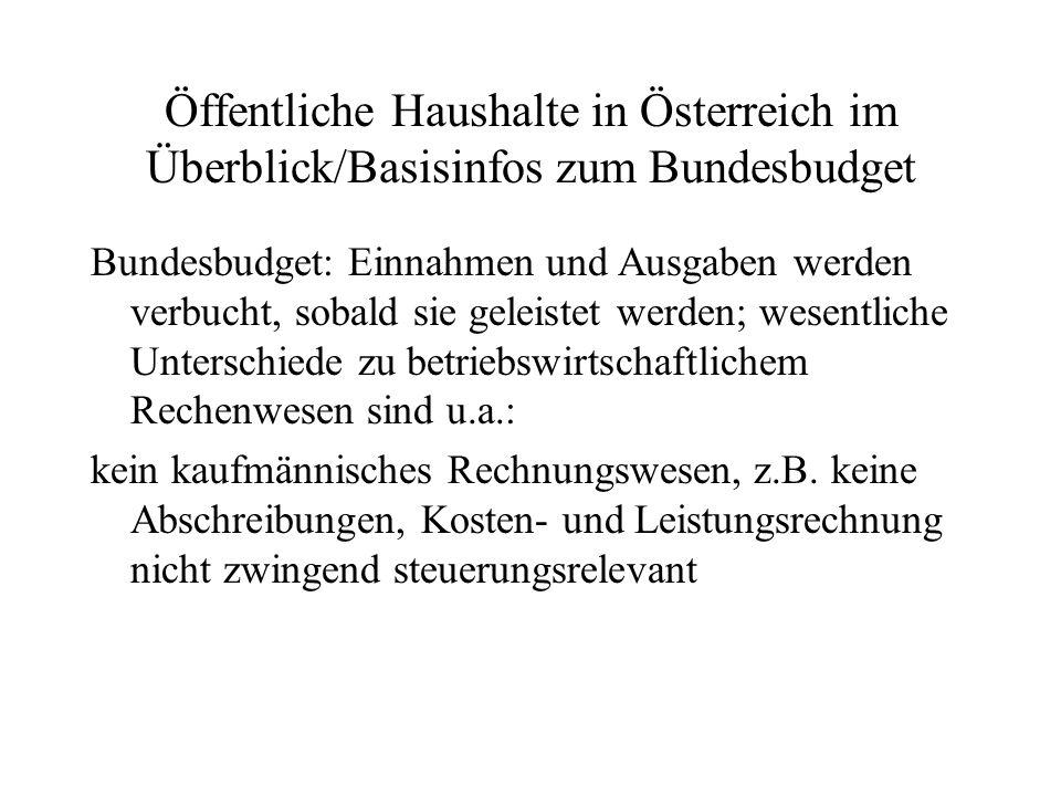 Öffentliche Haushalte in Österreich im Überblick/Basisinfos zum Bundesbudget Bundesbudget: Einnahmen und Ausgaben werden verbucht, sobald sie geleiste