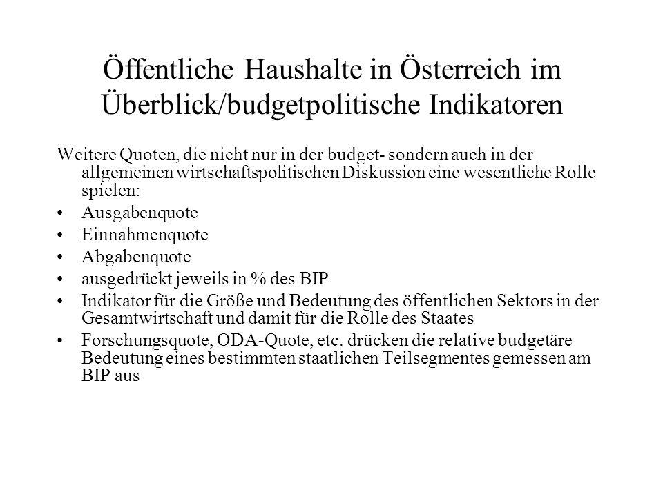Öffentliche Haushalte in Österreich im Überblick/budgetpolitische Indikatoren Weitere Quoten, die nicht nur in der budget- sondern auch in der allgeme