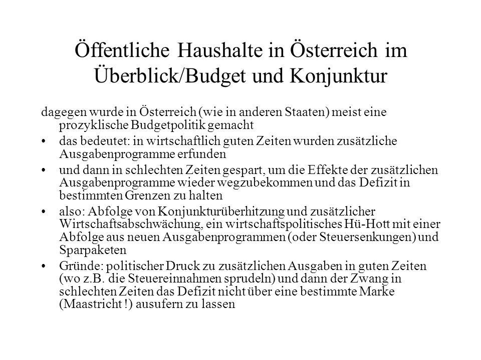 Öffentliche Haushalte in Österreich im Überblick/Budget und Konjunktur dagegen wurde in Österreich (wie in anderen Staaten) meist eine prozyklische Bu