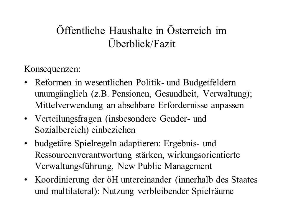 Öffentliche Haushalte in Österreich im Überblick/Fazit Konsequenzen: Reformen in wesentlichen Politik- und Budgetfeldern unumgänglich (z.B. Pensionen,