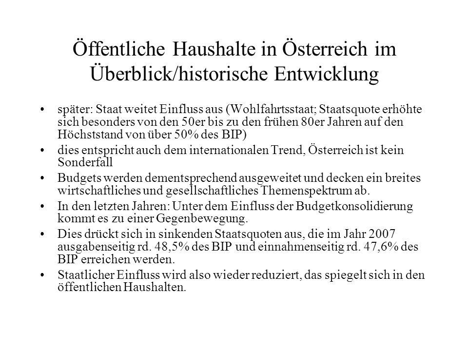 Öffentliche Haushalte in Österreich im Überblick/Einnahmen Staatseinnahmen (2006):in % Steuern und Abgaben87,0 Produktionserlöse 4,2 Vermögenseinkommen 2,9 übrige 6,0