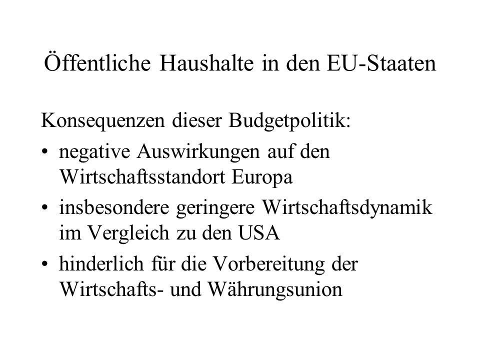 Öffentliche Haushalte in den EU-Staaten Konsequenzen dieser Budgetpolitik: negative Auswirkungen auf den Wirtschaftsstandort Europa insbesondere gerin