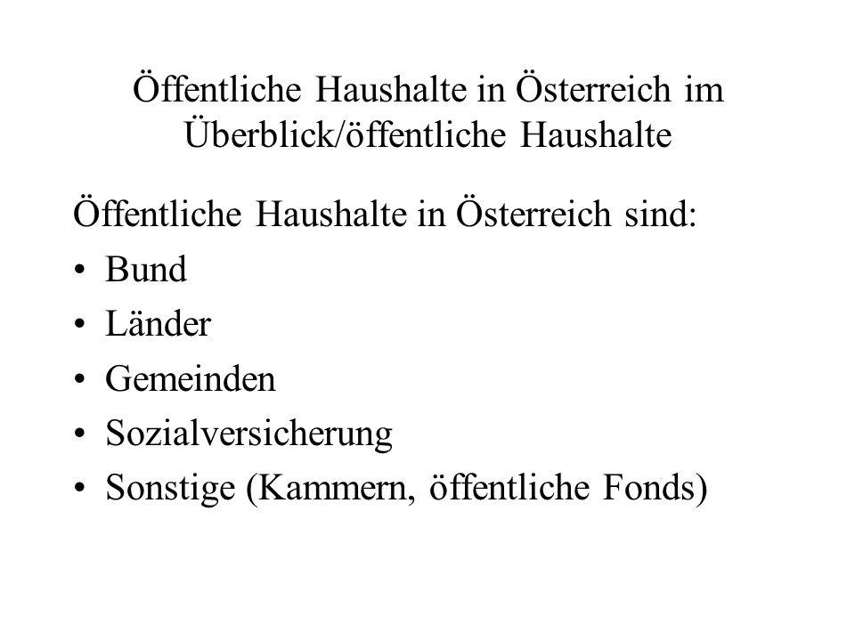 Öffentliche Haushalte in Österreich im Überblick/öffentliche Haushalte Öffentliche Haushalte in Österreich sind: Bund Länder Gemeinden Sozialversicher