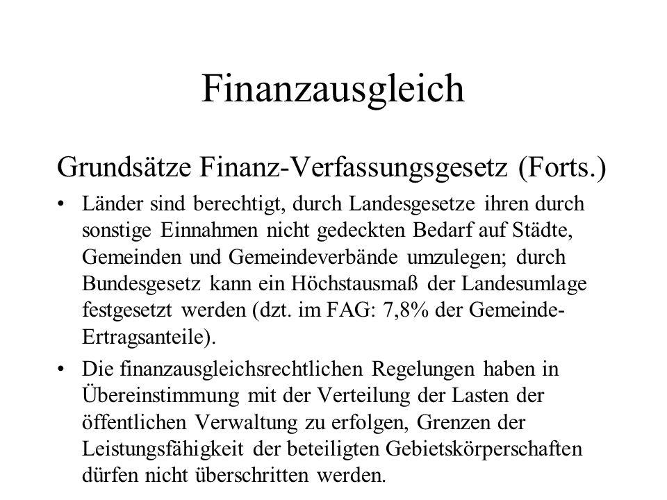 Finanzausgleich Grundsätze Finanz-Verfassungsgesetz (Forts.) Länder sind berechtigt, durch Landesgesetze ihren durch sonstige Einnahmen nicht gedeckte
