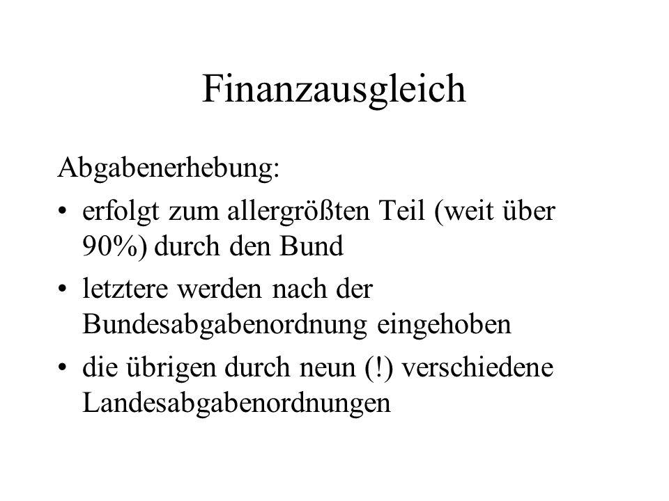 Finanzausgleich Abgabenerhebung: erfolgt zum allergrößten Teil (weit über 90%) durch den Bund letztere werden nach der Bundesabgabenordnung eingehoben
