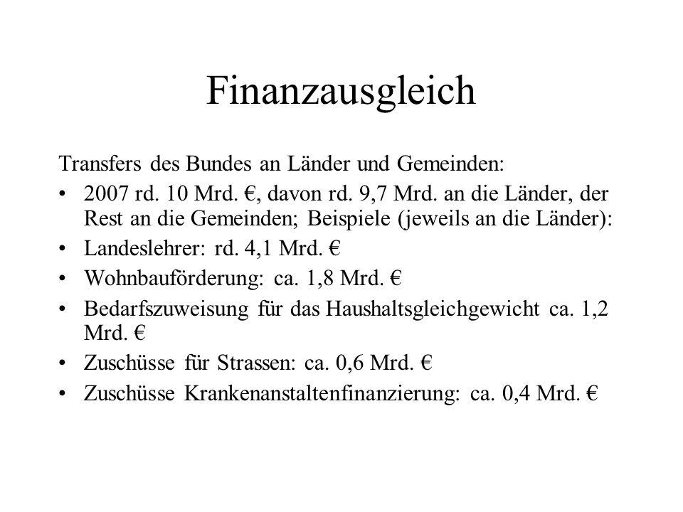 Finanzausgleich Transfers des Bundes an Länder und Gemeinden: 2007 rd. 10 Mrd., davon rd. 9,7 Mrd. an die Länder, der Rest an die Gemeinden; Beispiele