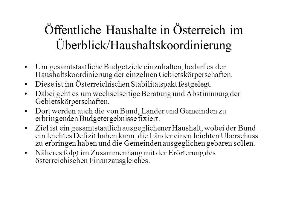 Öffentliche Haushalte in Österreich im Überblick/Haushaltskoordinierung Um gesamtstaatliche Budgetziele einzuhalten, bedarf es der Haushaltskoordinier