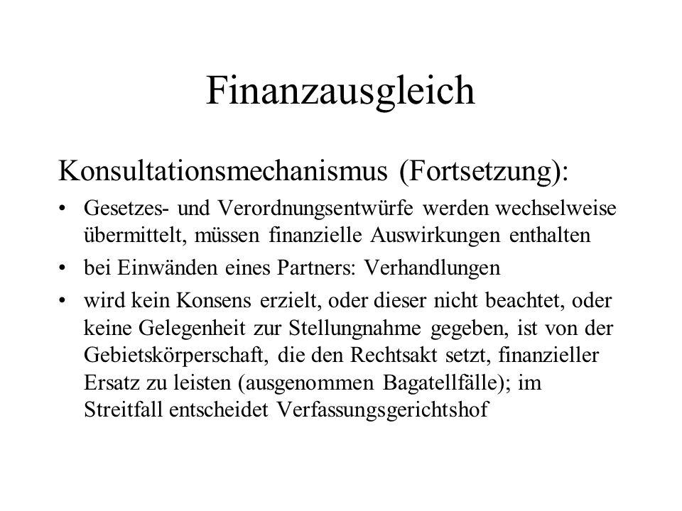 Finanzausgleich Konsultationsmechanismus (Fortsetzung): Gesetzes- und Verordnungsentwürfe werden wechselweise übermittelt, müssen finanzielle Auswirku