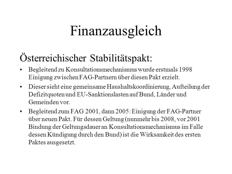Finanzausgleich Österreichischer Stabilitätspakt: Begleitend zu Konsultationsmechanismus wurde erstmals 1998 Einigung zwischen FAG-Partnern über diese