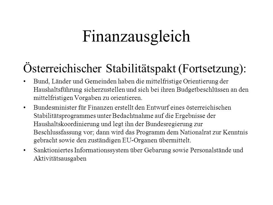 Finanzausgleich Österreichischer Stabilitätspakt (Fortsetzung): Bund, Länder und Gemeinden haben die mittelfristige Orientierung der Haushaltsführung