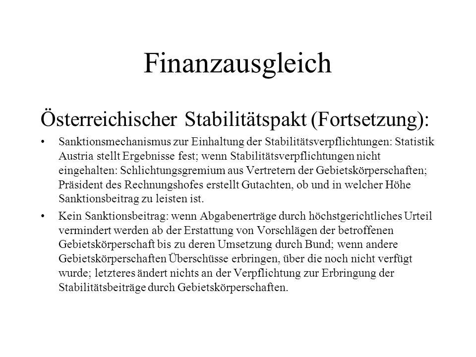 Finanzausgleich Österreichischer Stabilitätspakt (Fortsetzung): Sanktionsmechanismus zur Einhaltung der Stabilitätsverpflichtungen: Statistik Austria