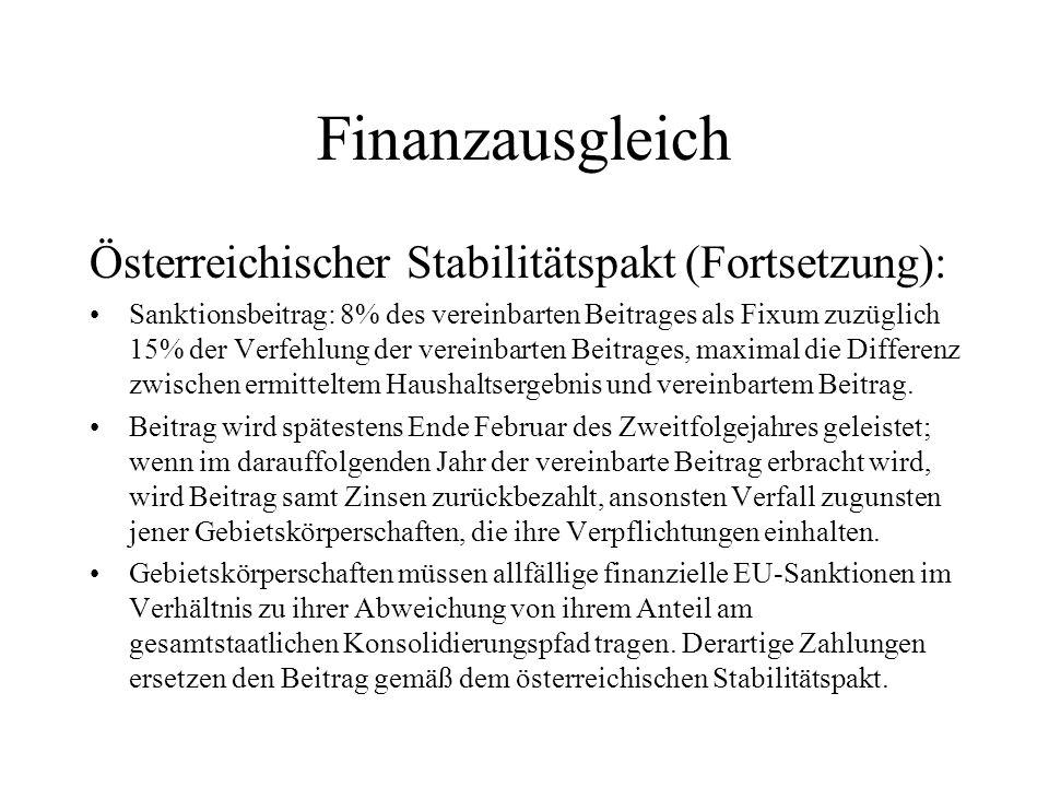 Finanzausgleich Österreichischer Stabilitätspakt (Fortsetzung): Sanktionsbeitrag: 8% des vereinbarten Beitrages als Fixum zuzüglich 15% der Verfehlung