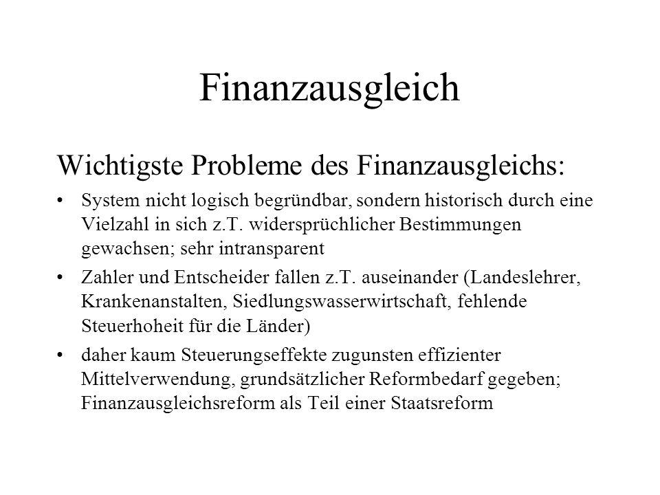 Finanzausgleich Wichtigste Probleme des Finanzausgleichs: System nicht logisch begründbar, sondern historisch durch eine Vielzahl in sich z.T. widersp