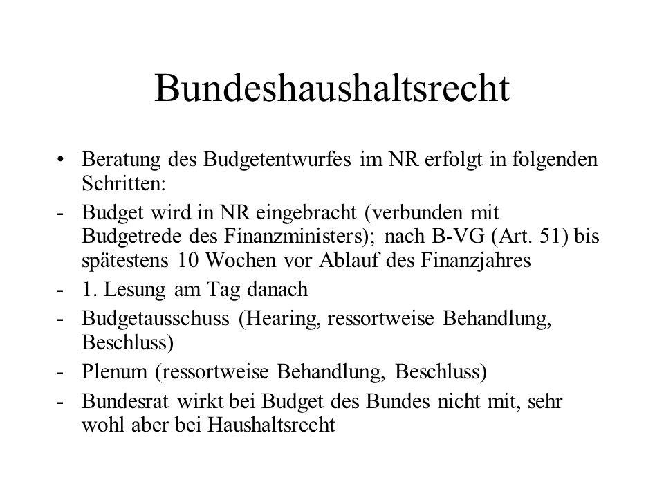 Bundeshaushaltsrecht Beratung des Budgetentwurfes im NR erfolgt in folgenden Schritten: -Budget wird in NR eingebracht (verbunden mit Budgetrede des F