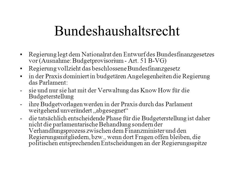 Bundeshaushaltsrecht Regierung legt dem Nationalrat den Entwurf des Bundesfinanzgesetzes vor (Ausnahme: Budgetprovisorium - Art. 51 B-VG) Regierung vo