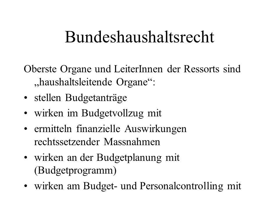 Bundeshaushaltsrecht Oberste Organe und LeiterInnen der Ressorts sind haushaltsleitende Organe: stellen Budgetanträge wirken im Budgetvollzug mit ermi